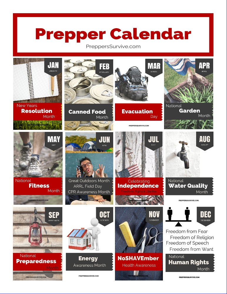 Prepper Calendar National Observance Months Preppers